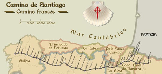 map of Camino De Santiago